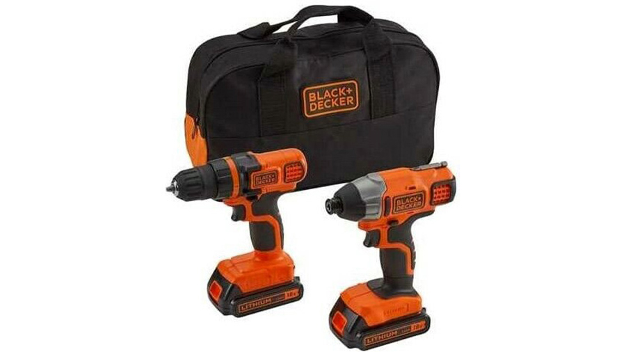 Lot de perceuse sans fil + Visseuse à impact BDCDDIM18B Black+Decker