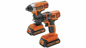 le lot de perceuse sans fil + Visseuse à impact BDCDDIM18B Black+Decker