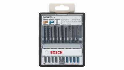 Bosch Robust Line 2607010542 Coffret de lames pour scie sauteuse 10 pièces Bois et métal Tige en T