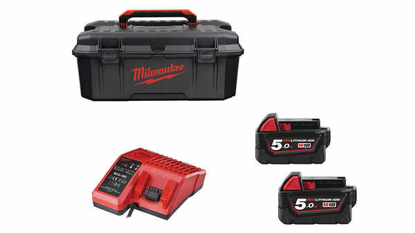 Pack NRJ Milwaukee 18V 5.0Ah 2 batteries 18 V 5.0Ah 1 chargeur M12-18FC M18 FUELUP-502W