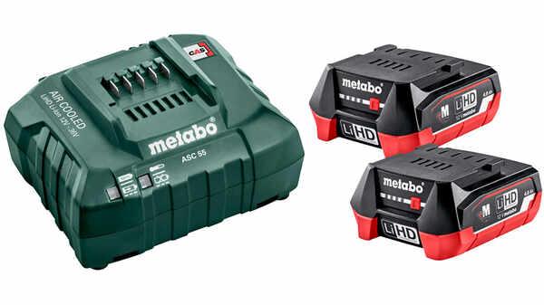 Pack 2 batteries 12V 4Ah LIHD et un chargeur ASC 55 Metabo