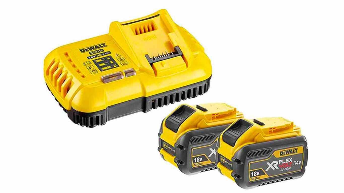 Pack chargeur DCB118X2-QW et Batterie Dewalt DCB547 Flexvolt Batterie li-Ion 54 V 3 Ah prix pas cher