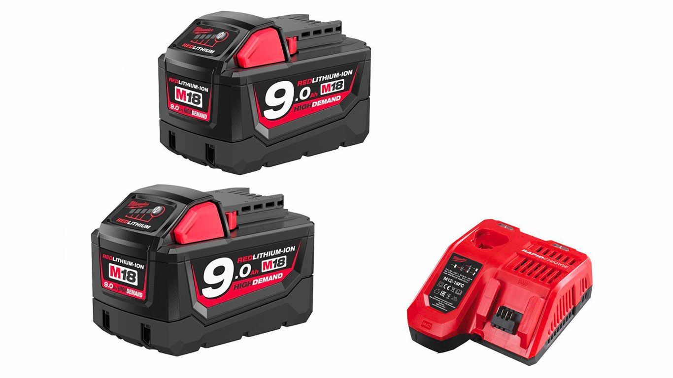 Pack NRJ Milwaukee 18V 9.0Ah 2 batteries 18V 9.0Ah 1 chargeur M12-18FC