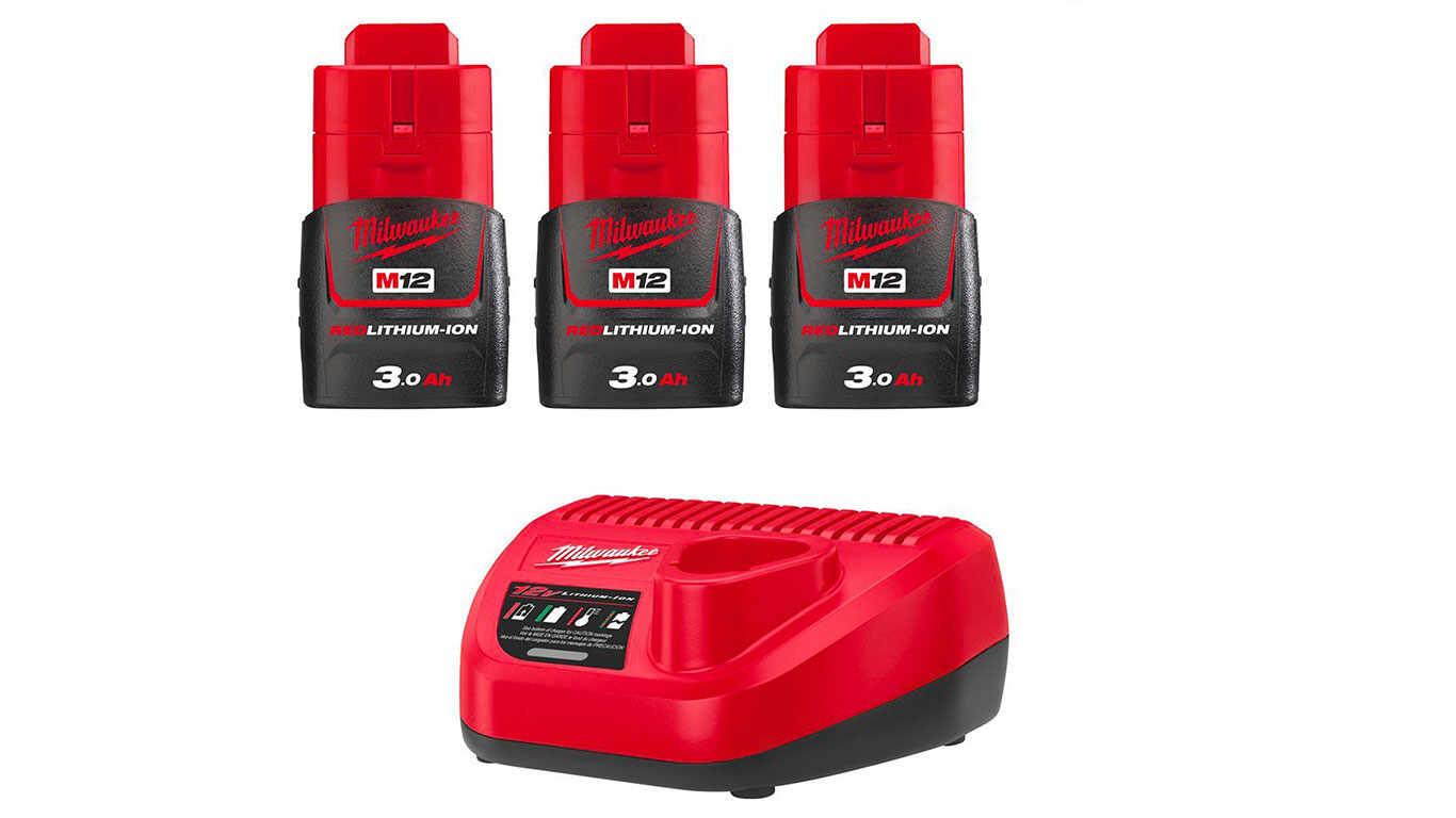 Pack de 3 batteries NRJ Milwaukee M12 3.0Ah - Chargeur 4933459207