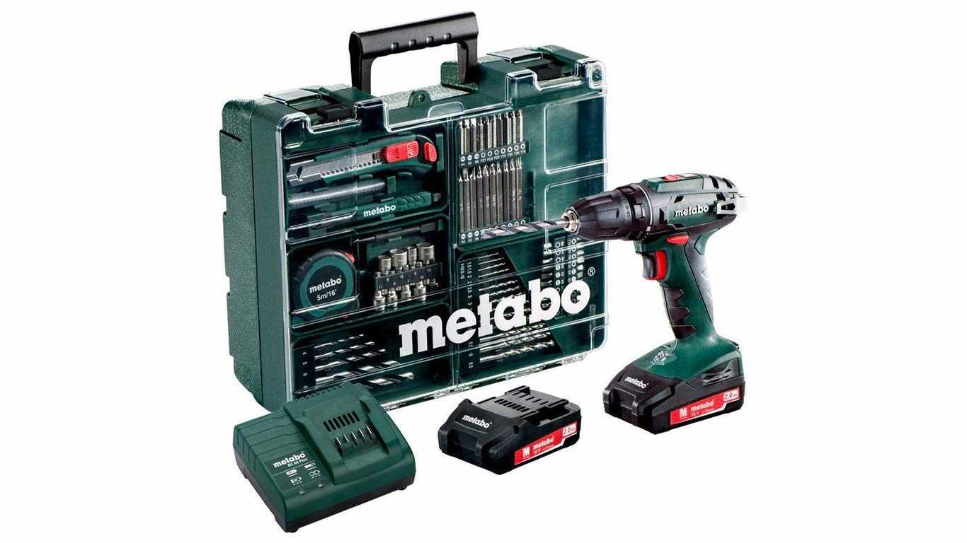 METABO BS18LI Perceuse Visseuse 18V, 2Ah Li(2 batteries) + 65 accessoires pas cher