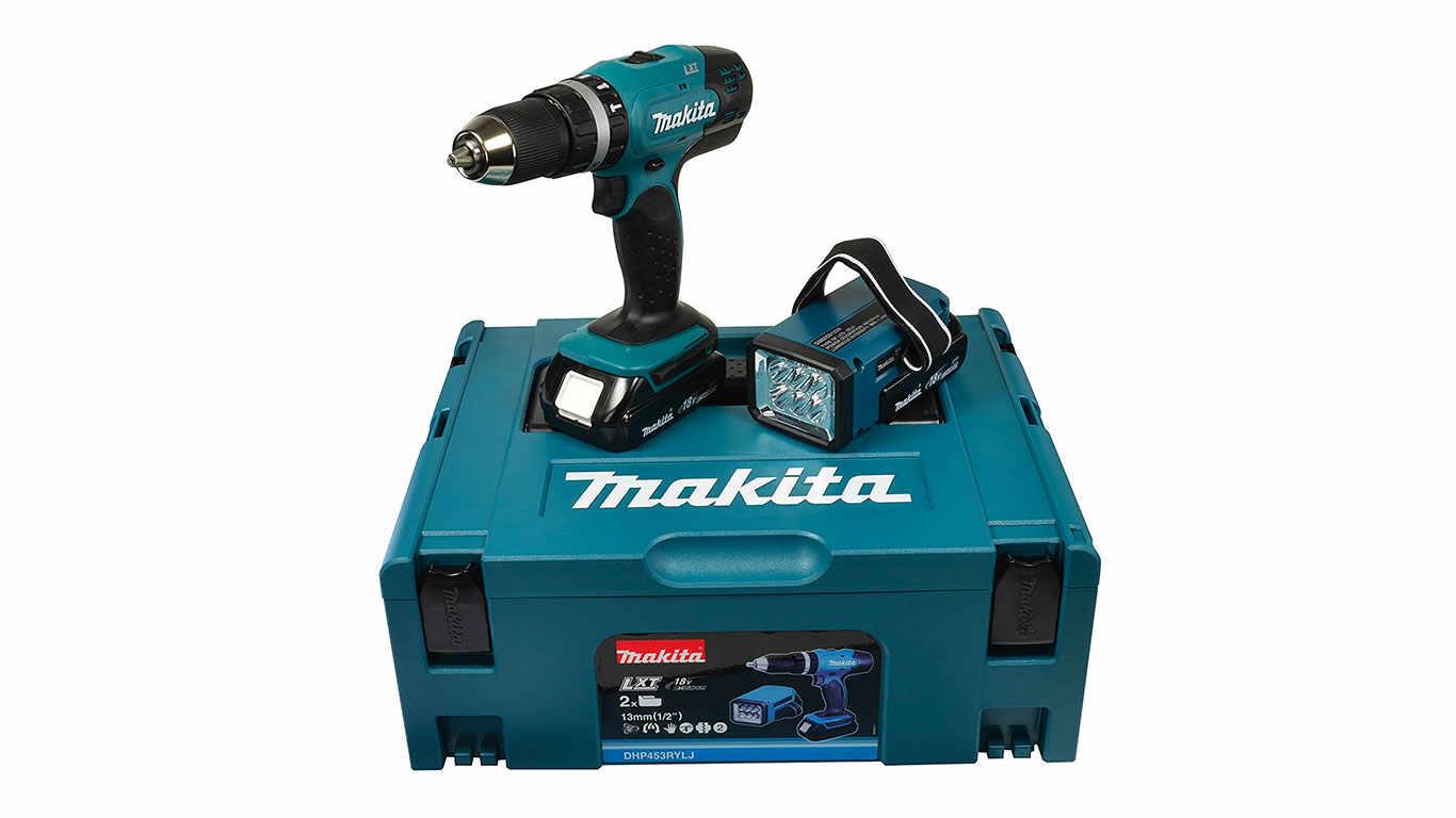 Makita DHP453RYLJ Perceuse Percussion sans Fil 18 V / 1,5 Ah avec Batterie et Lampe pas cher