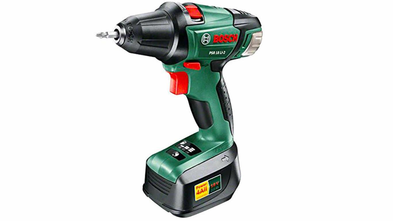 "Bosch Perceuse visseuse ""Expert"" sans fil PSR 18 LI-2, coffret 1 batterie 18V 2,0 Ah, technologie Syneon 0603973309"